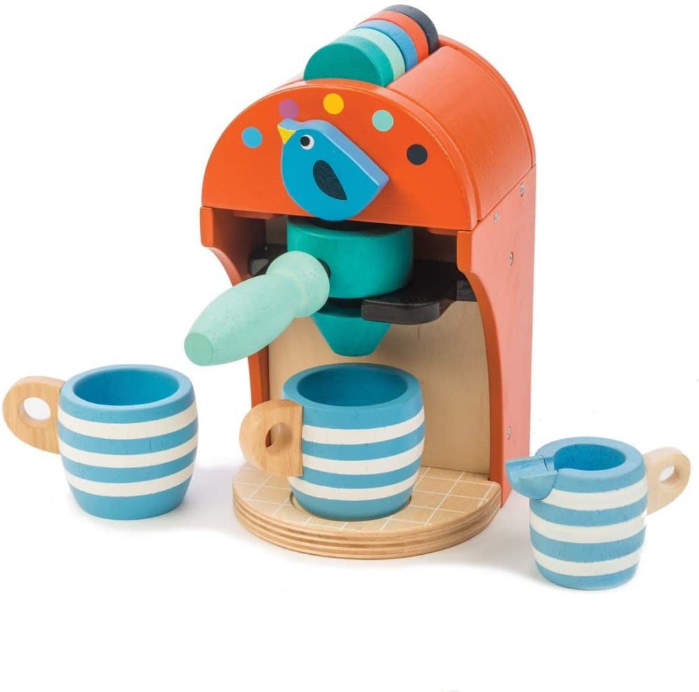 Tender Leaf Toys Wooden Toy Espresso Maker With Coffee Capsules Mugs Milk
