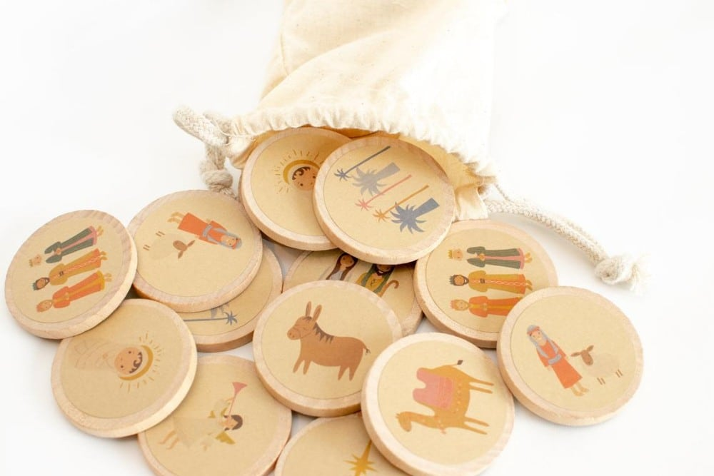 The Buttercup House Brand Nativity Wooden Montessori Matching Game