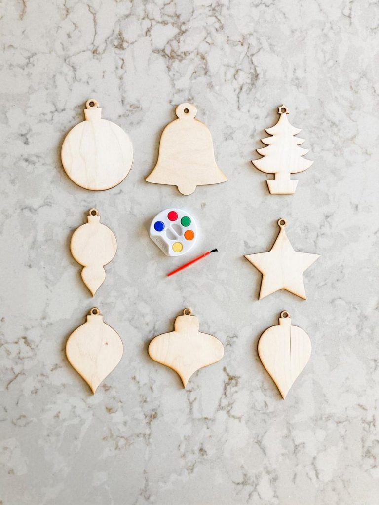 The Confetti Home Brand Paintable Christmas Wooden Ornaments Set