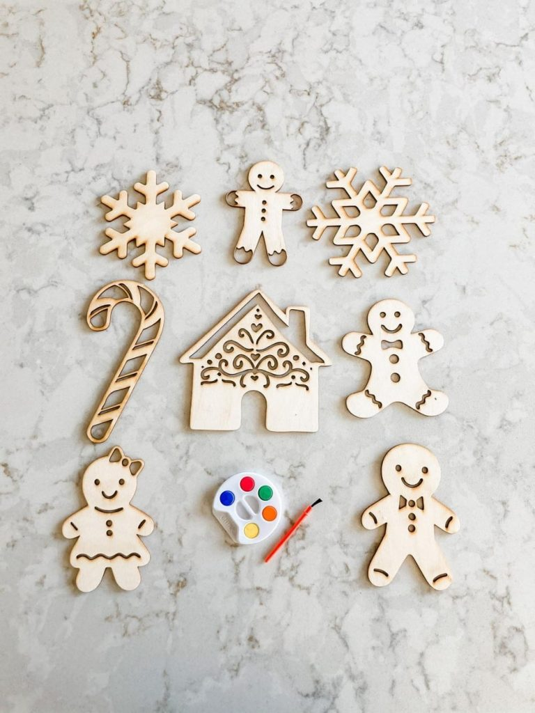 The Confetti Home Brand Paintable Gingerbread And Christmas Candy Wood Cut Out Set