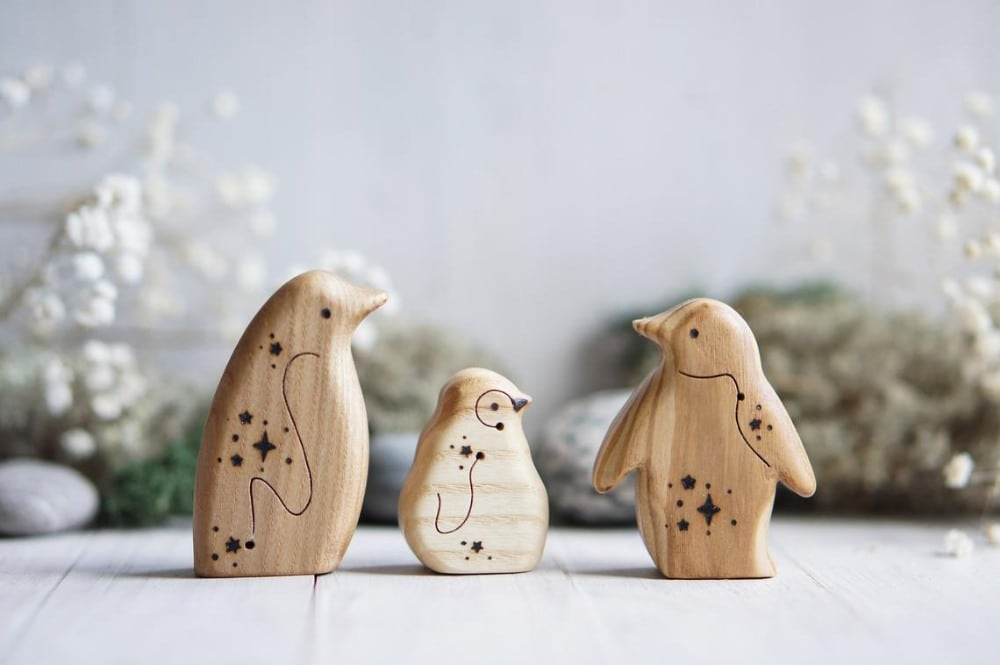Tiny Fox Hole Brand Natural Wooden Penguin Waldorf Figurines
