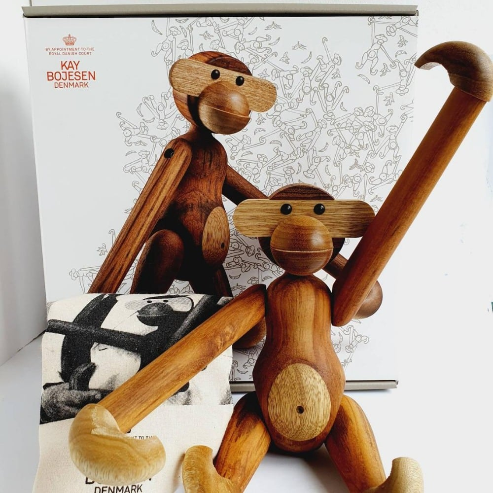 Vintage Bojesen Wooden Monkey With Packaging
