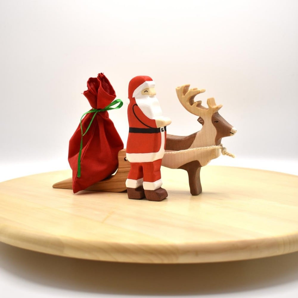 Vulps Toys Brand Wooden Santa Sleigh And Reindeer Waldorf Figurines