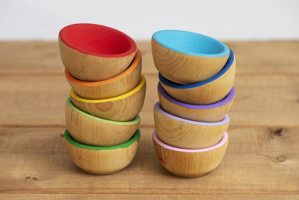 Whiskey Rose Studio Brand Color Sorting Wooden Bowls For Loose Parts Play