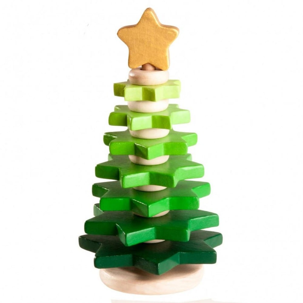 Wood And Care Brand Green Wooden Baby Stacking Christmas Tree