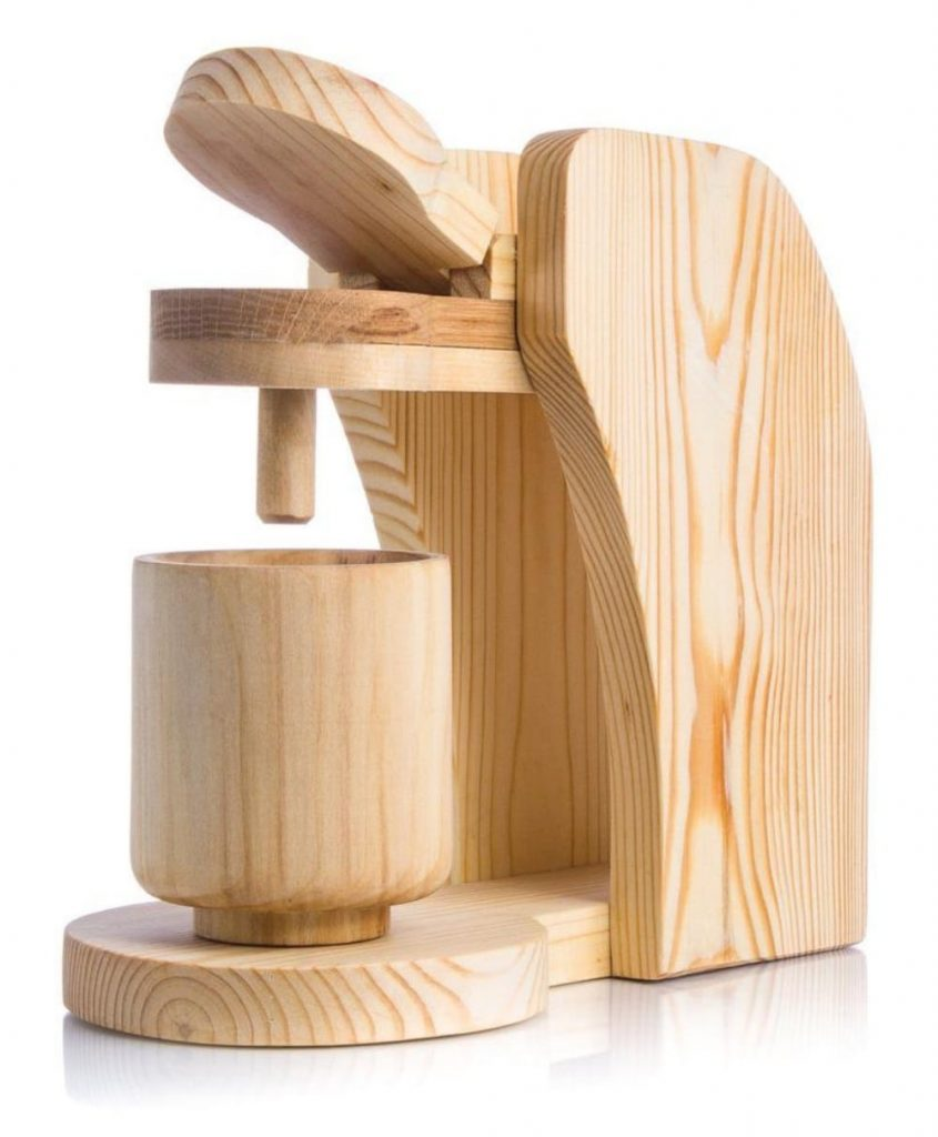 Wood Presents Unpainted Wooden Toy Coffee Machine
