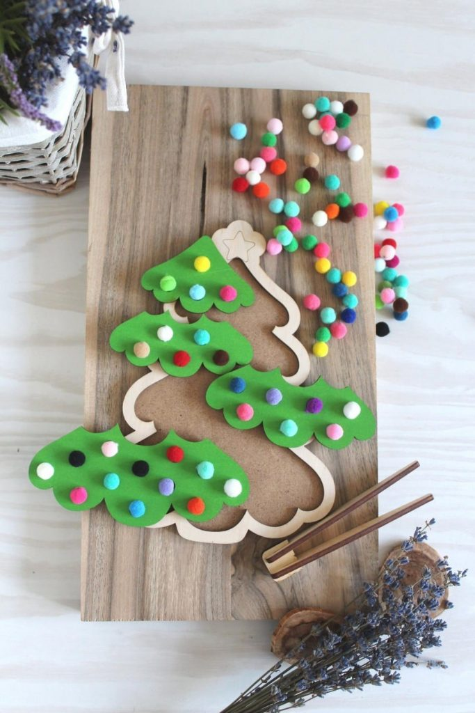 Wooden Toys For You Brand Christmas Tree Wooden Montessori Pom Pom Game