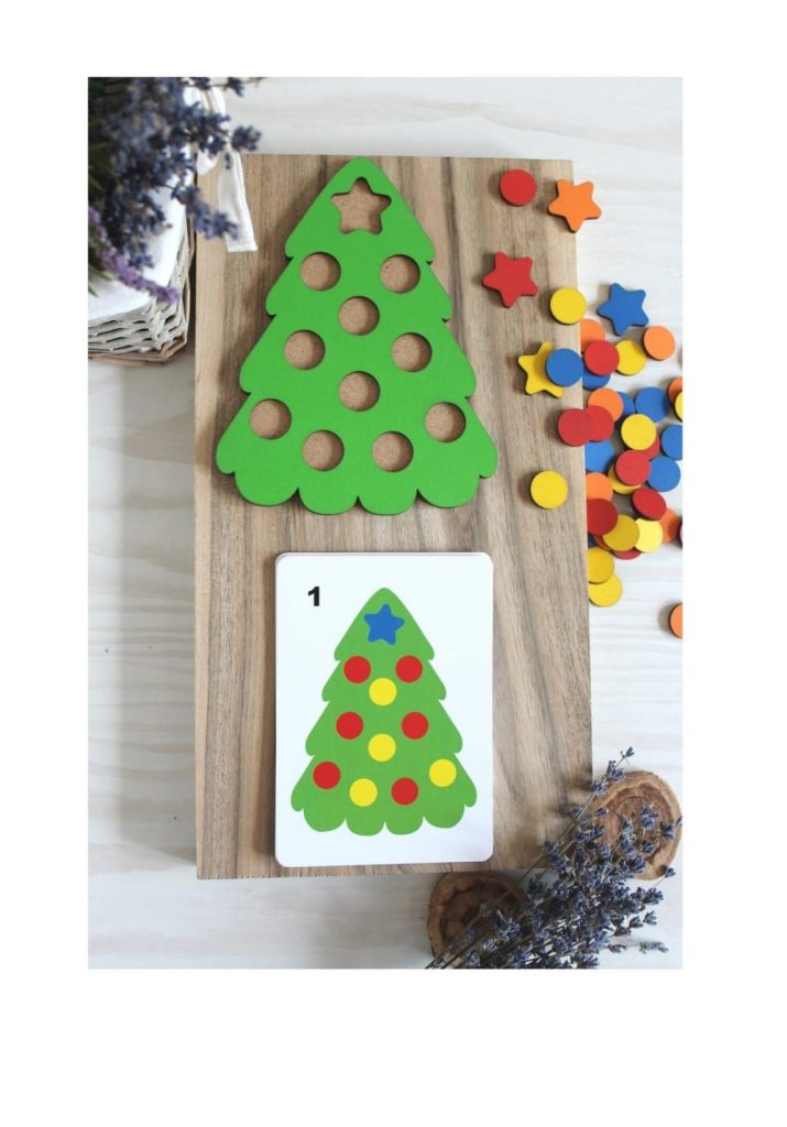 Wooden Toys For You Brand Christmas Tree Wooden Pattern Matching Activity
