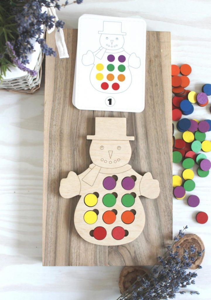 Wooden Toys For You Brand Snowman Wooden Pattern Matching Activity