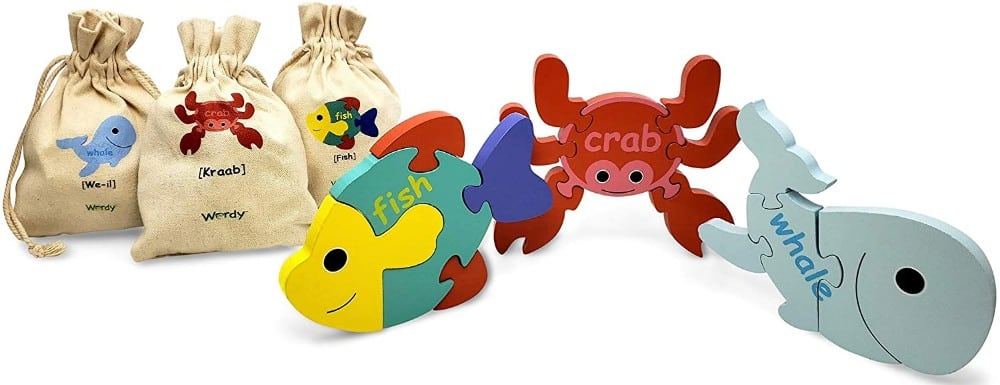 Wordy Spanish English Sea Animals Early Childhood Wooden Language Education Puzzles