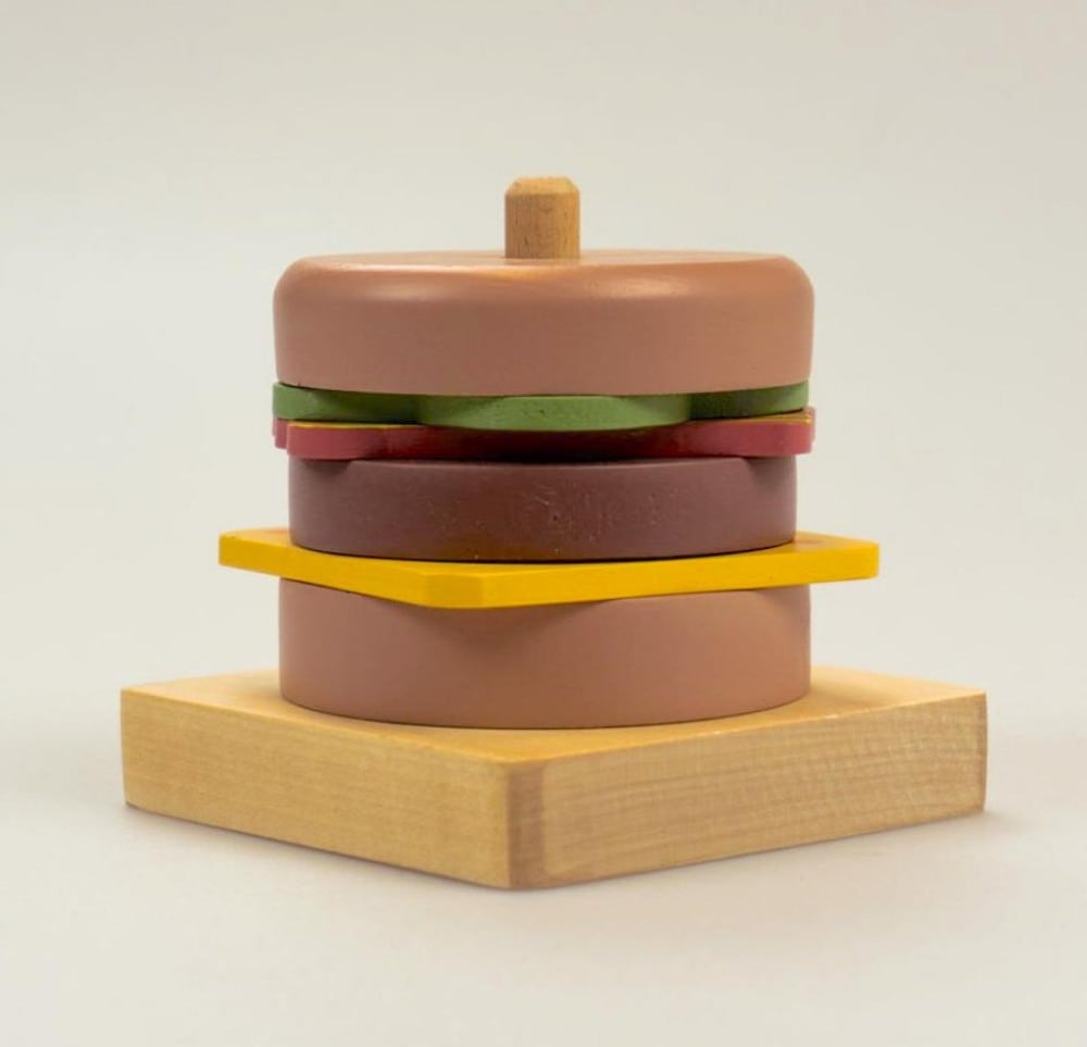 Banlon Outlet Handmade Wooden Stacking Cheeseburger For Kids
