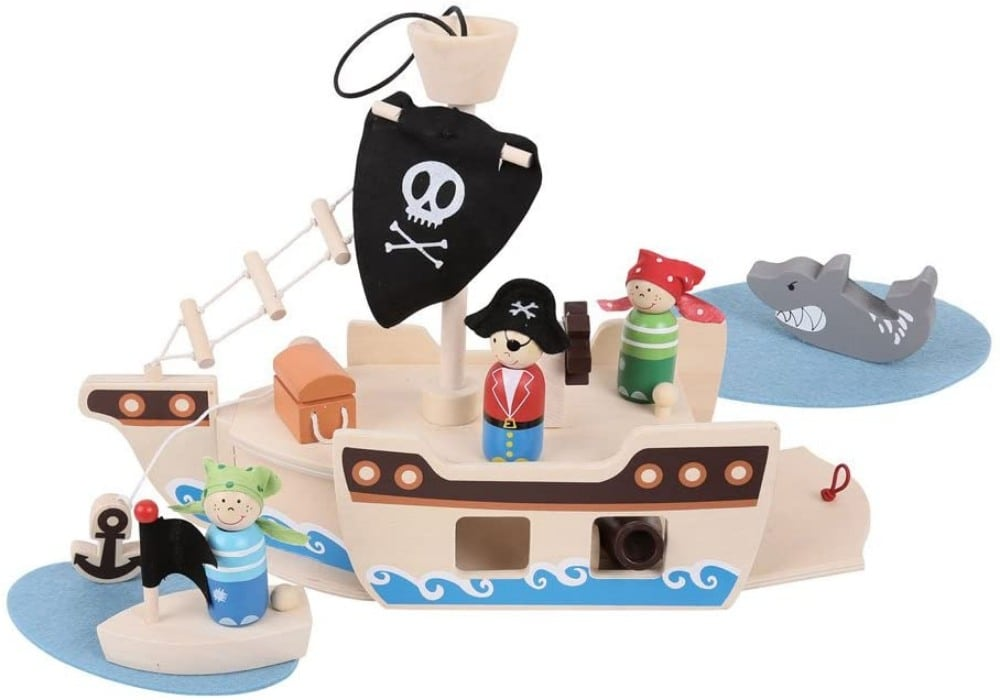 Bigjigs Mini Wooden Pirate Playset For Toddlers