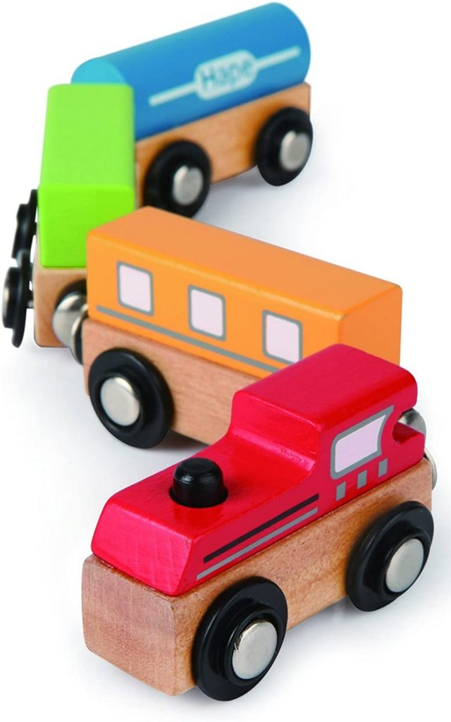 Hape Magnetic Classic Wooden Train Set For Learning Shapes And Colors