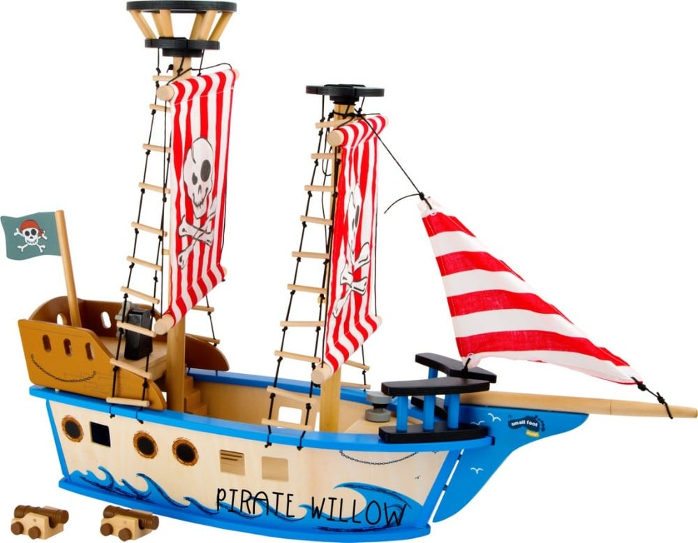 Holly And Fred Custom Engraved Wooden Pirate Ship Personalized Name Gift