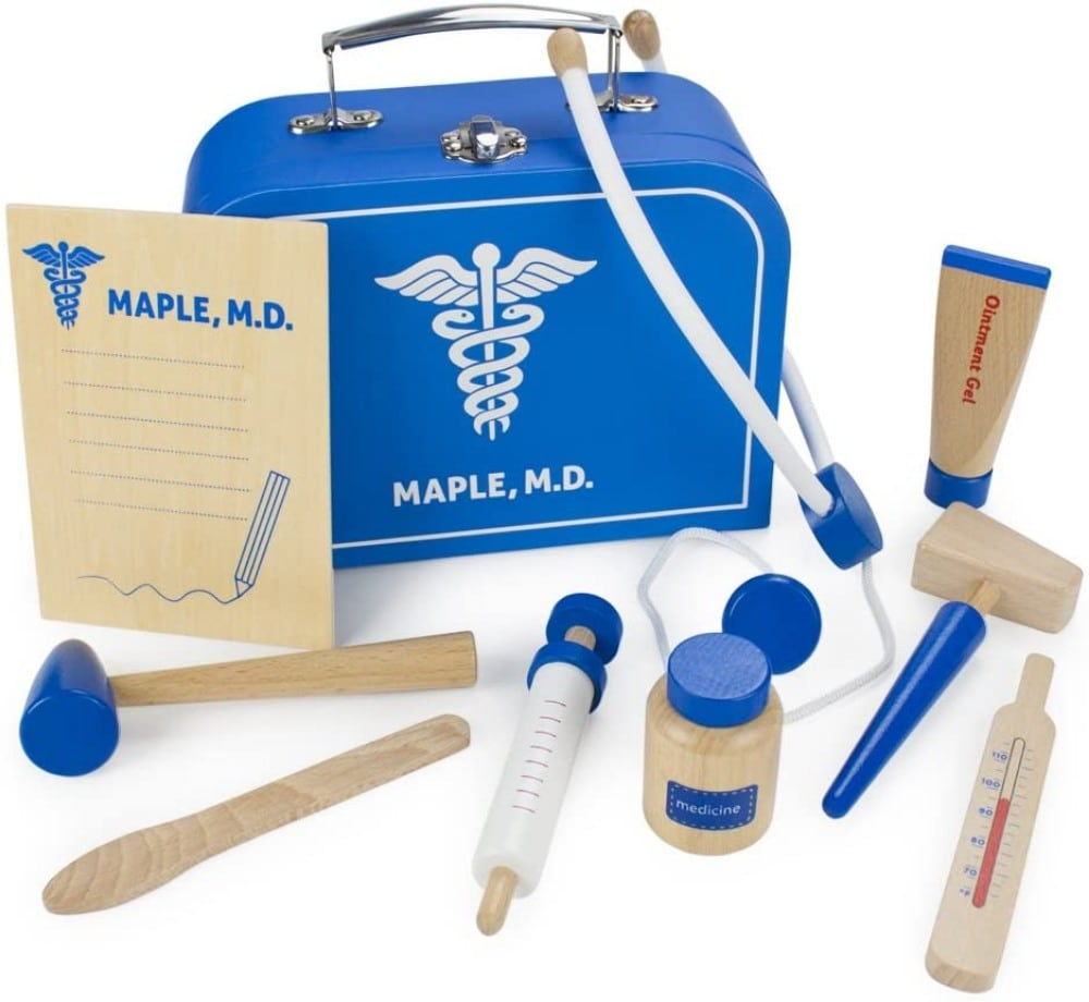 Imagingation Generation Blue-Colored Wood Toy Doctor Kit
