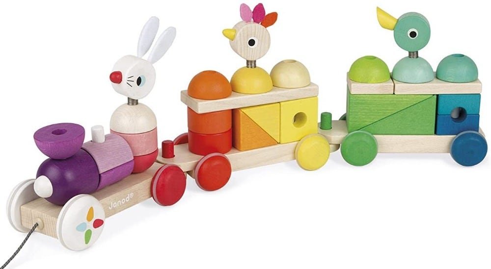 Janod Giant Wooden Animal Train Toy For Learning Colors