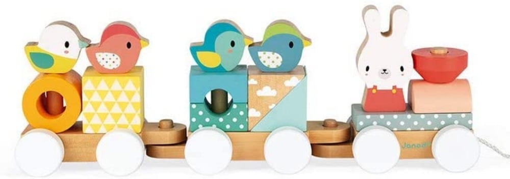 Janod Wooden Pull Along Train And Activity Stacker Toy For Toddlers