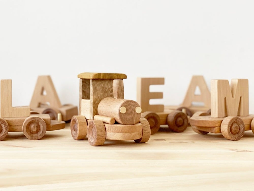 Kind Wood Pecker Unpainted Natural Wood Personalized Letter Train Set