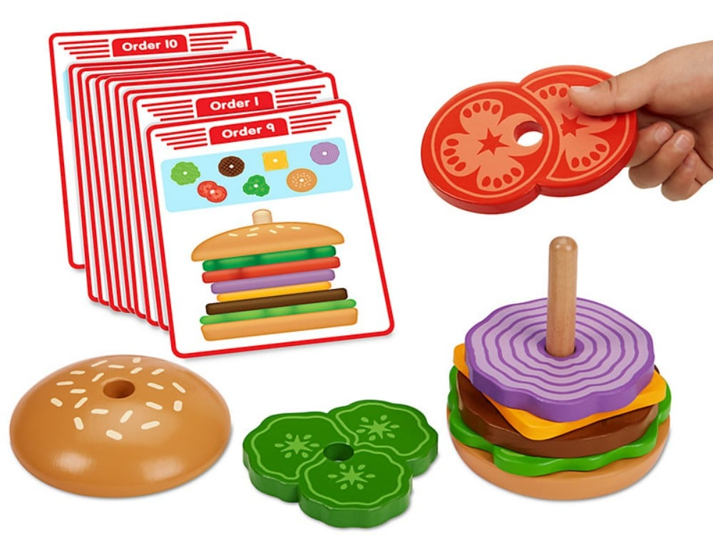 Lakeshore Create A Burger Educational Wooden Stacking Toy
