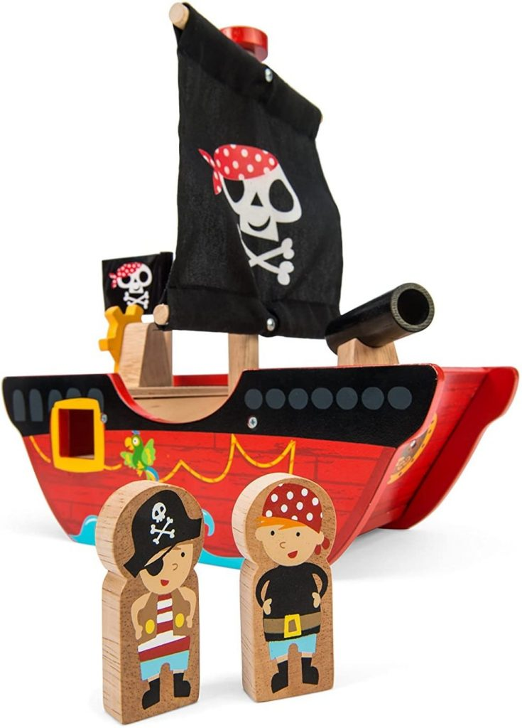 Le Toy Van Little Captain Pirate Boat Playset For Early Stage Toddlers