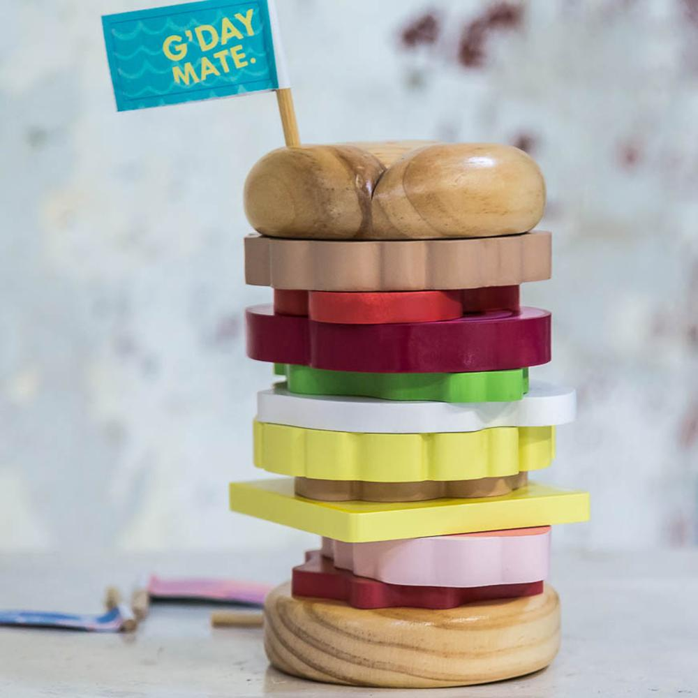 Make Me Iconic Australian Gifts Souvenirs Wood Toys Stacking Burger