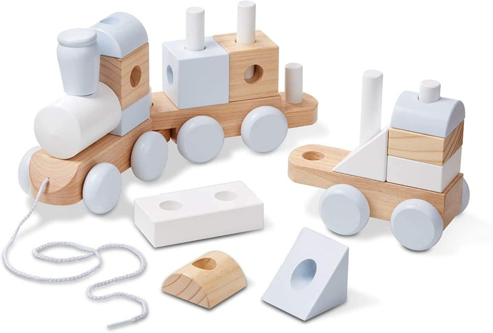 Melissa And Doug Open Ended Jumbo Wood Stacking Train White