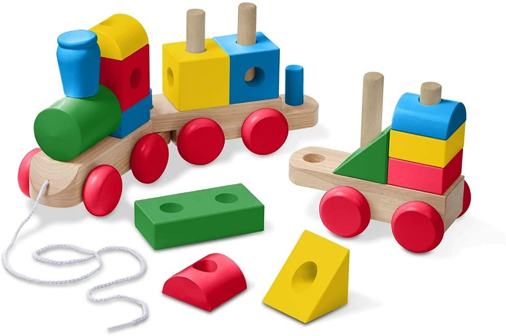 Melissa And Doug Open Ended Jumbo Wooden Stacking Train Primary Colors