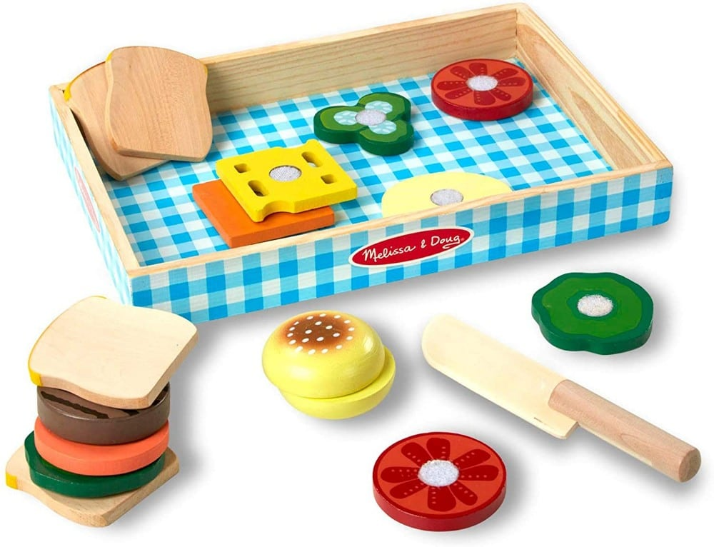 Melissa And Doug Sandwich Making Play Set With Wooden Burger