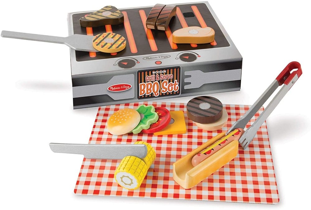 Melissa And Doug Wooden Kids Grill Set With Hamburger Meat And Veggies
