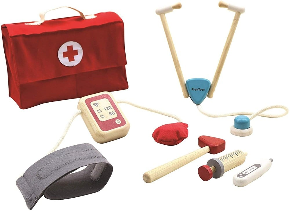 Plan Toys Eco Friendly Non Toxic Wooden Doctor Set For Toddlers