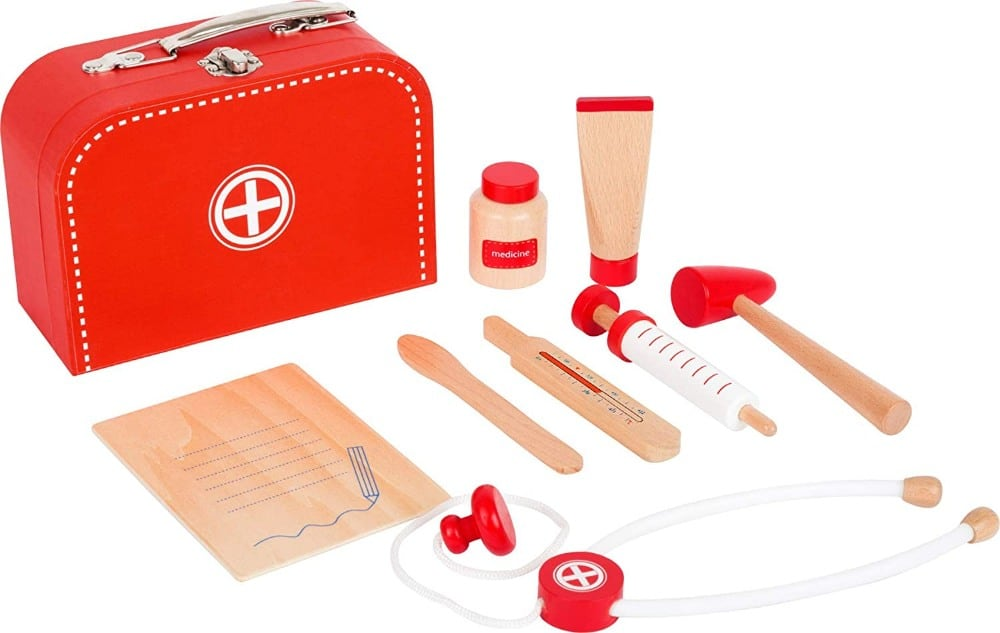 Small Foot Toys Classic Red Budget Friendly Wooden Doctors Play Set
