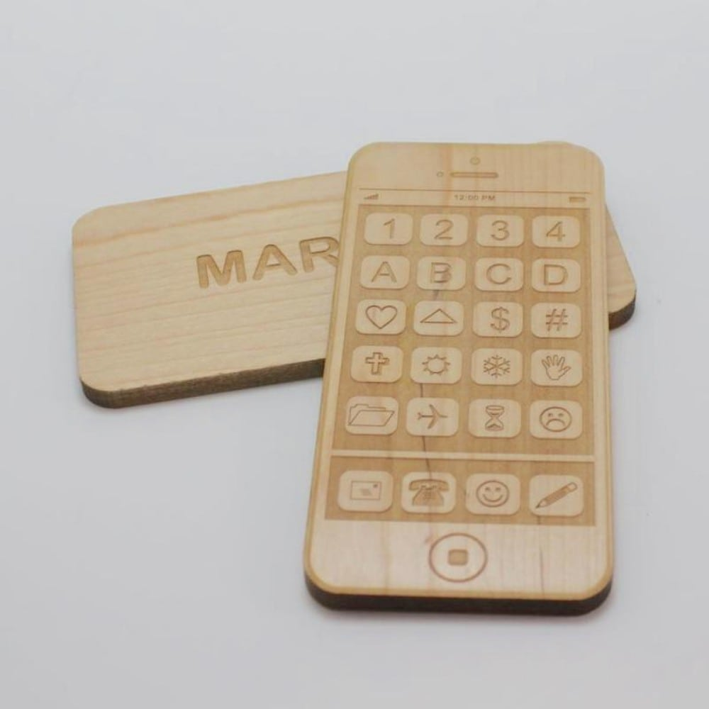 Treasured Family Creations Personalized Wooden Toy Smartphone Gift