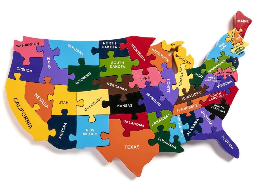 Chunky Open Ended United States Wooden Puzzle For Toddlers