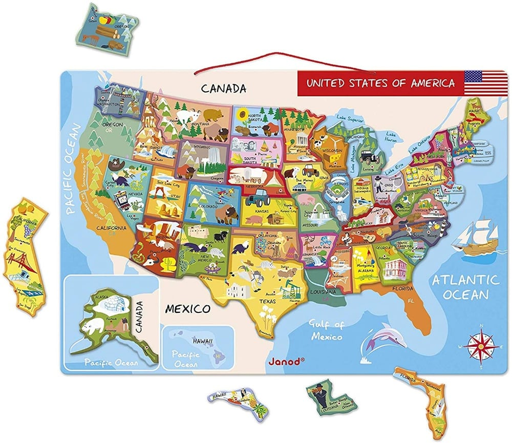 Janod Wall Hanging Magnetic Wooden Usa Map Puzzle