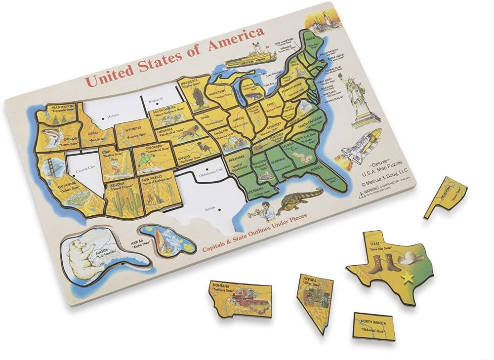 Melissa And Doug Deluxe Sized Large Wooden Usa Map Puzzle