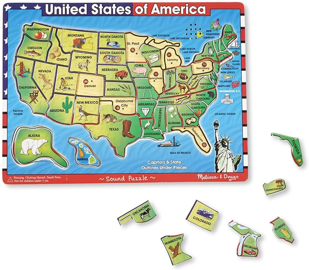 Melissa And Doug Wooden Usa Map Electronic Sound Puzzle
