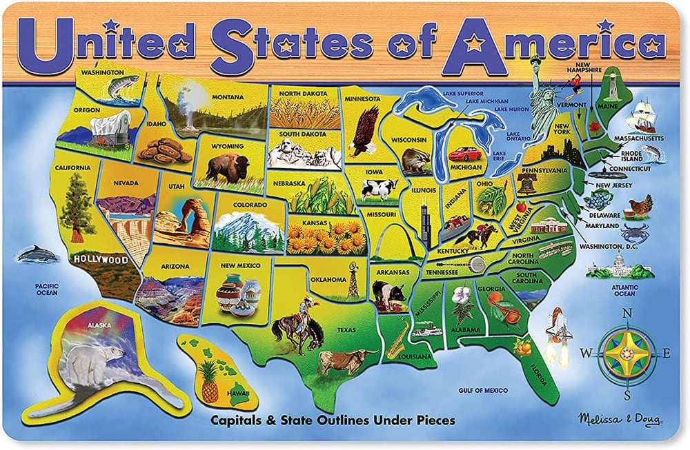 Melissa And Doug Wooden Usa Map Geography Puzzle