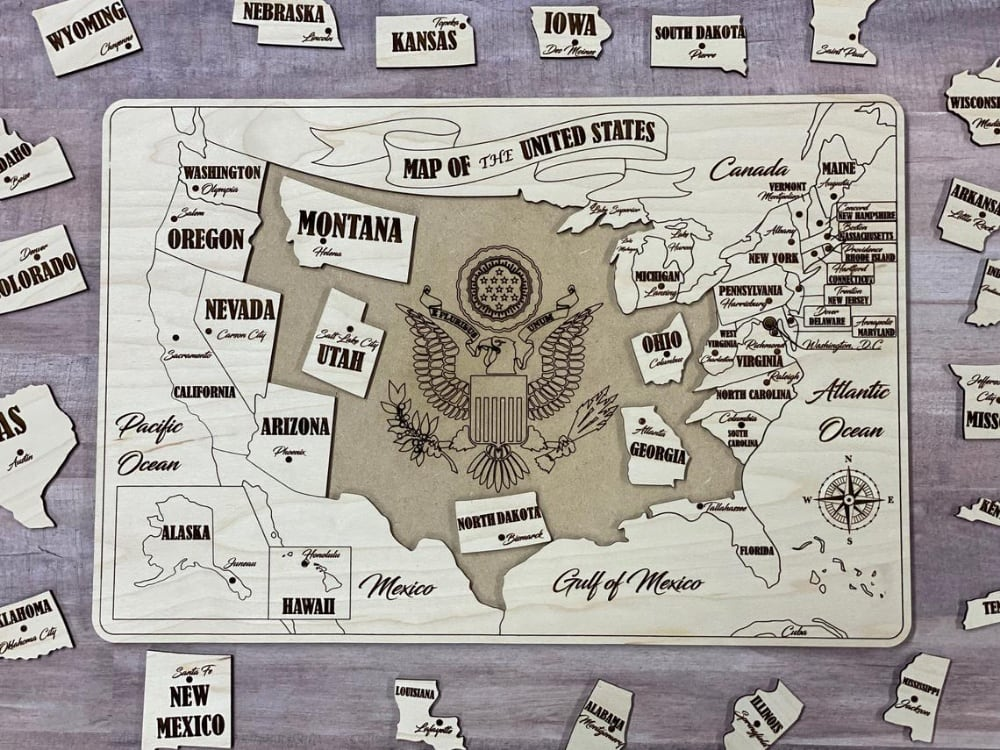 Old West Style Laser Cut Wooden Usa Map Puzzle