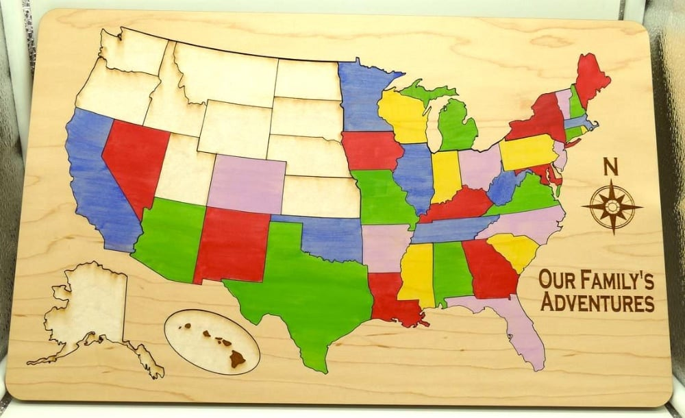 Our Family Adventures Custom Engraved Wooden Usa Travel Map