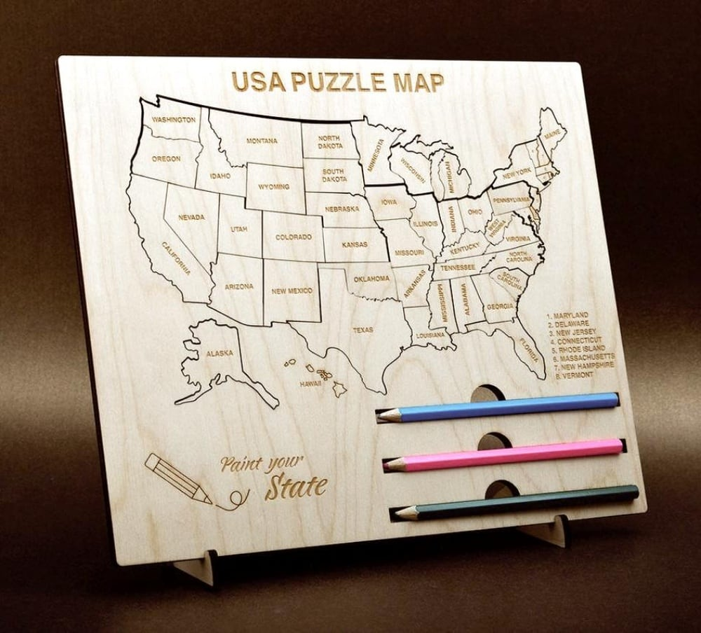 Paint Your State Wooden Usa Colored Pencil Art Puzzle