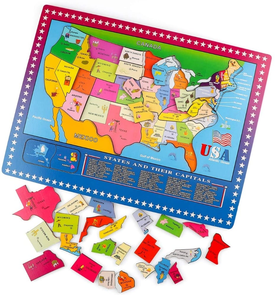 States And Capitals Large Wooden Usa Geography Puzzle