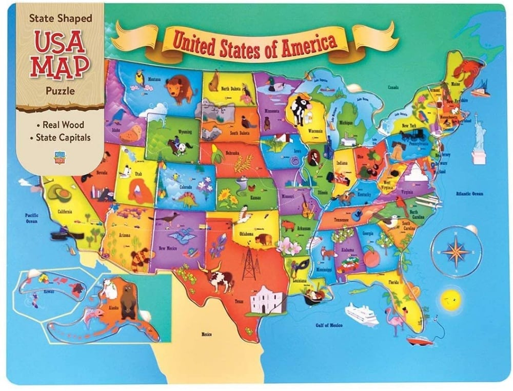 States Well Known Stuff Wooden Usa Map Jigsaw Puzzle