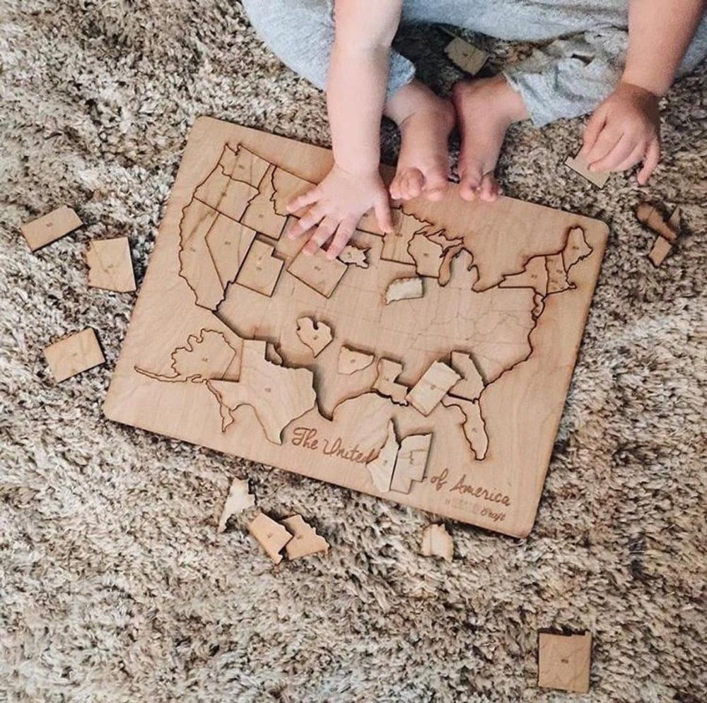 Toddler Friendly Laser Cut Wooden Usa Puzzle