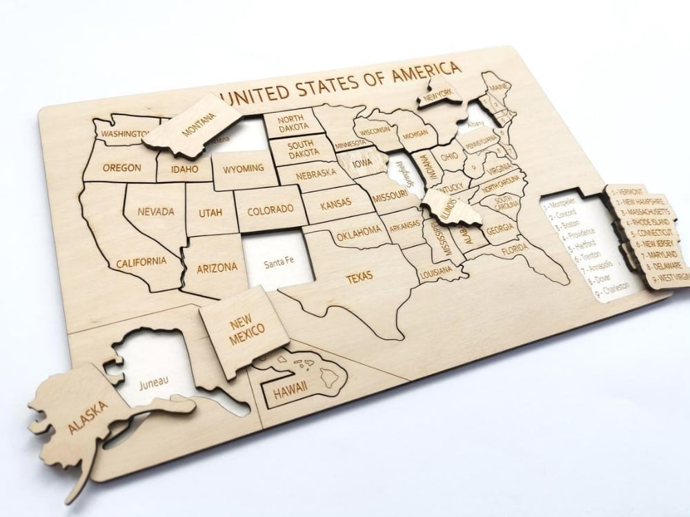 Unpainted Laser Cut Wooden Usa Map Puzzle