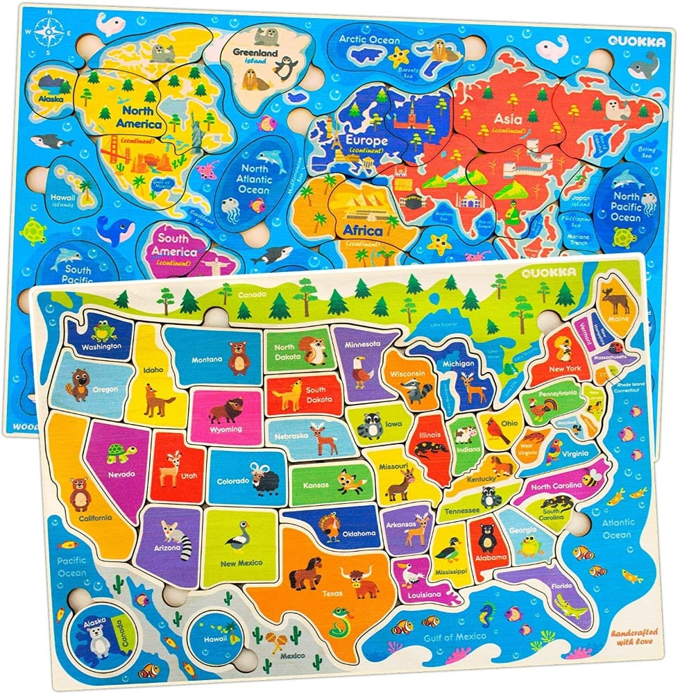 World And Usa Animal Map Toddler Puzzle Set