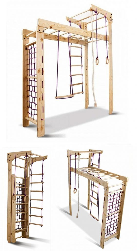 Clever Woody Foldable Wooden Indoor Monkey Bars