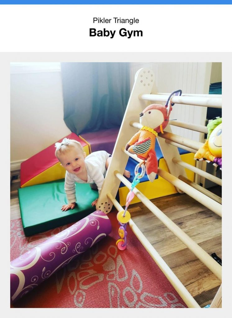 Hanging Toys On A Pikler Triangle To Make A Baby Play Gym