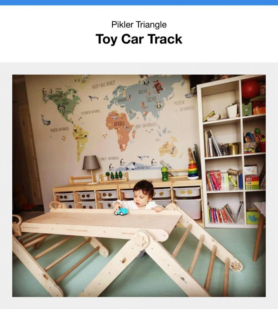 Rolling Toy Cars On The Pikler Triangle Slide Attachment Like A Pikler Race Car Track