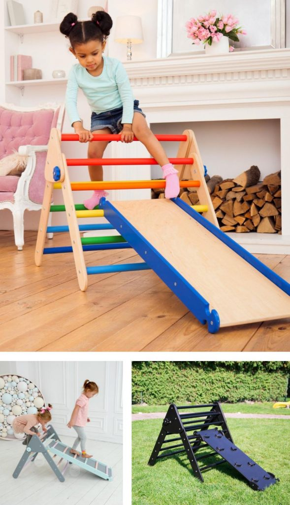 Wood And Hearts Budget Friendly Rainbow Pikler Climbing Triangle