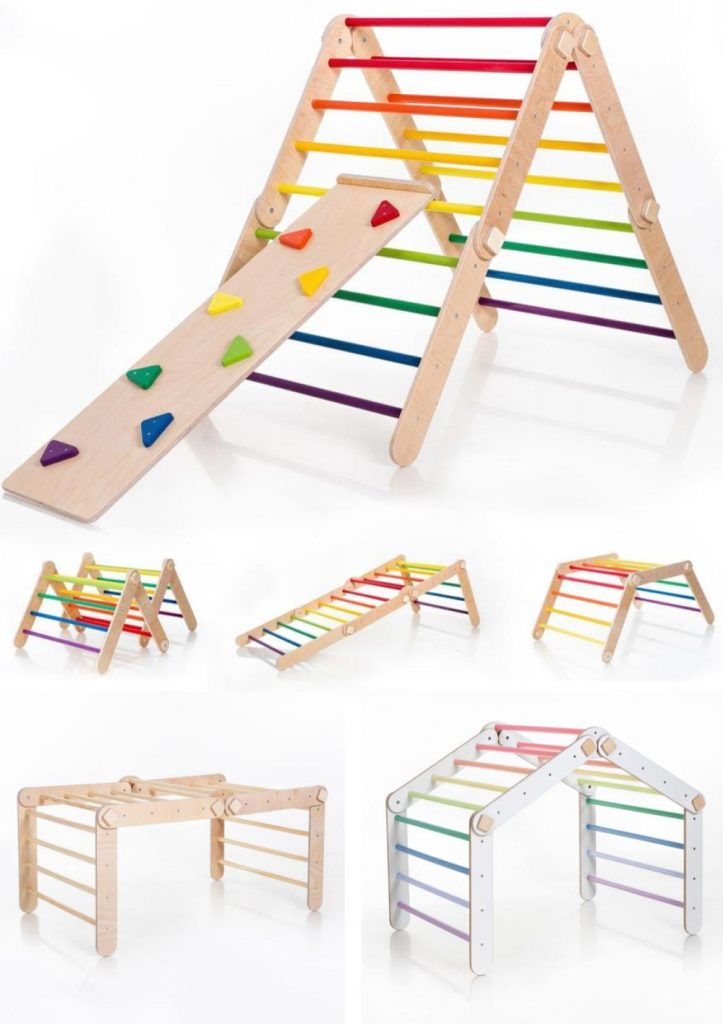 Wood Grain Lab Large Transformable Pikler Triangle For Toddlers